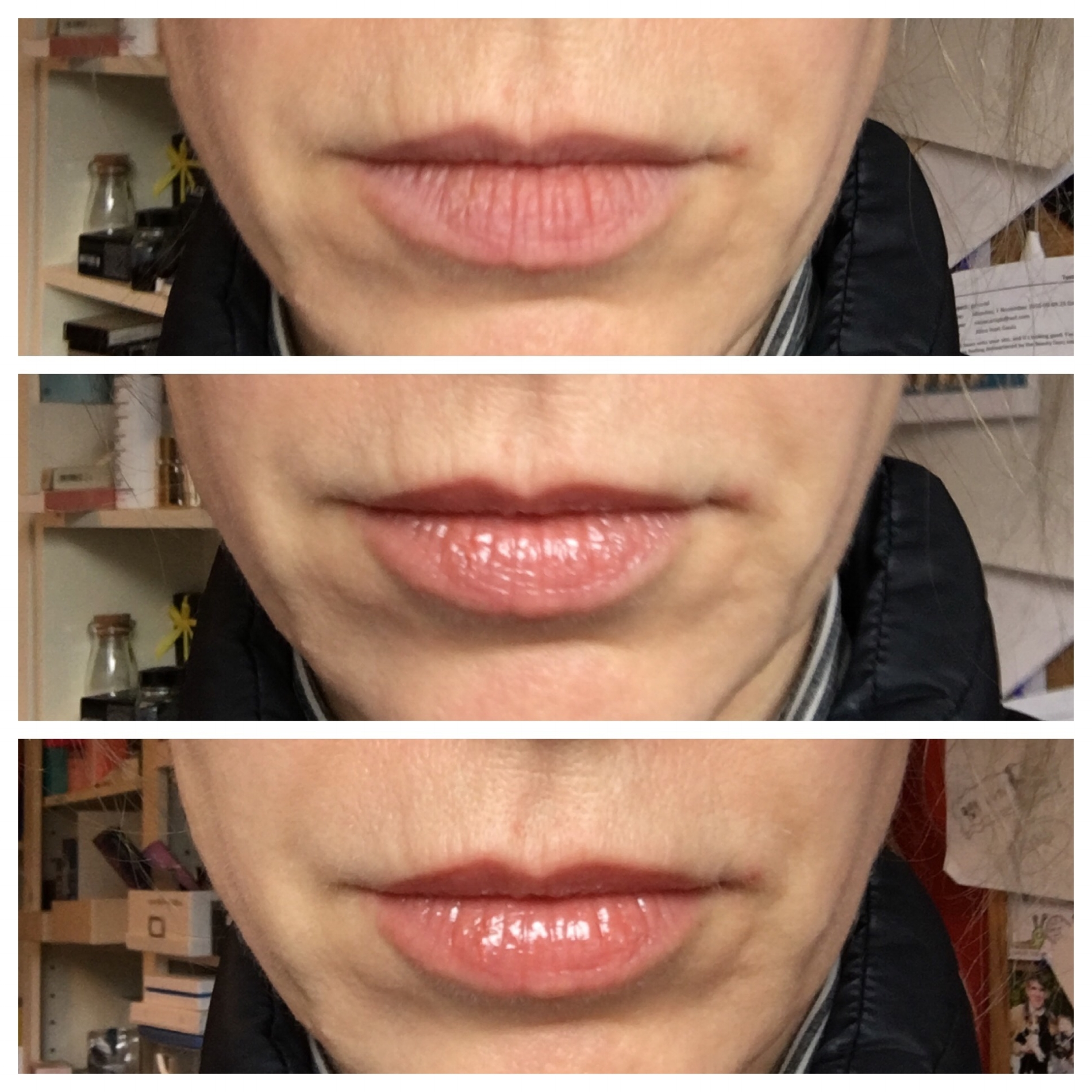 Just gloss, or actual volume? Before; after two minutes; after five minutes and more gloss