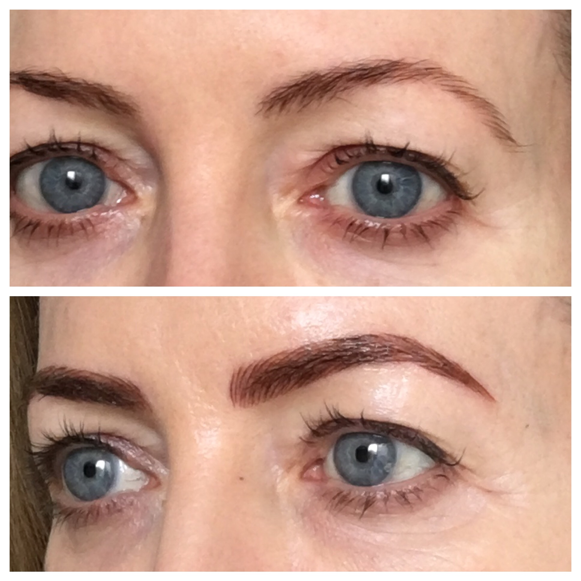Before and after eyebrow microblading - spot the difference!