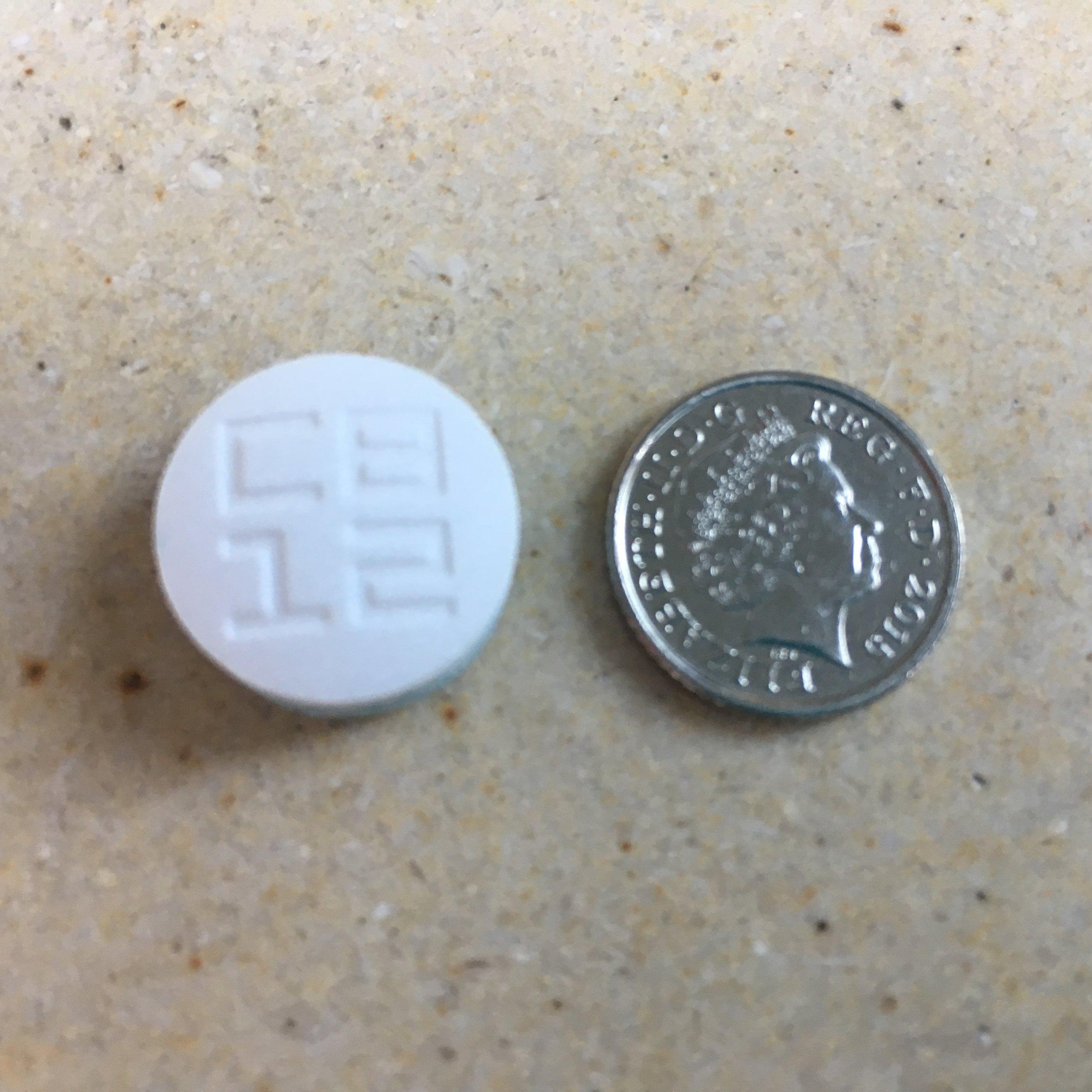 Each tab of CB12 fresh breath gum is quite a lump, the diameter of a 5p coin
