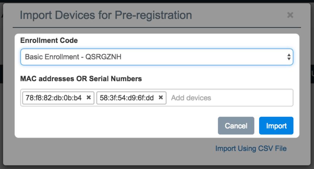import device for pre registration