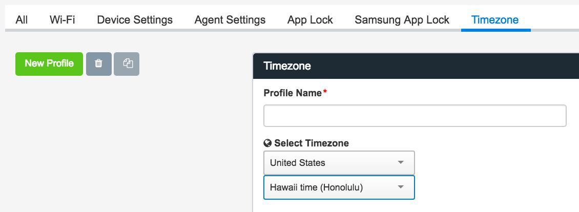 Timezone screenshots