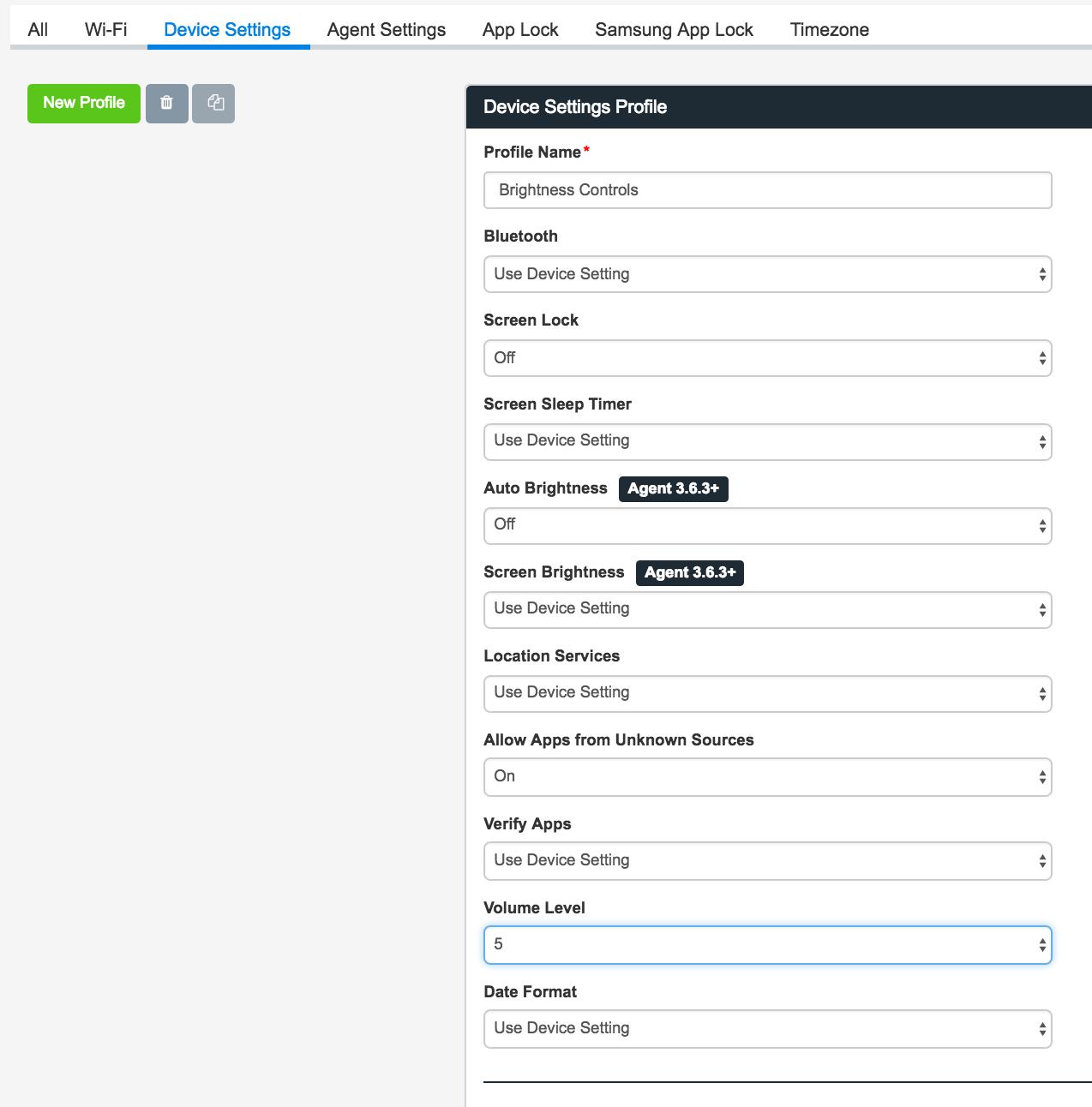 device settings screenshot