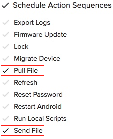 pull file and send file navigation items