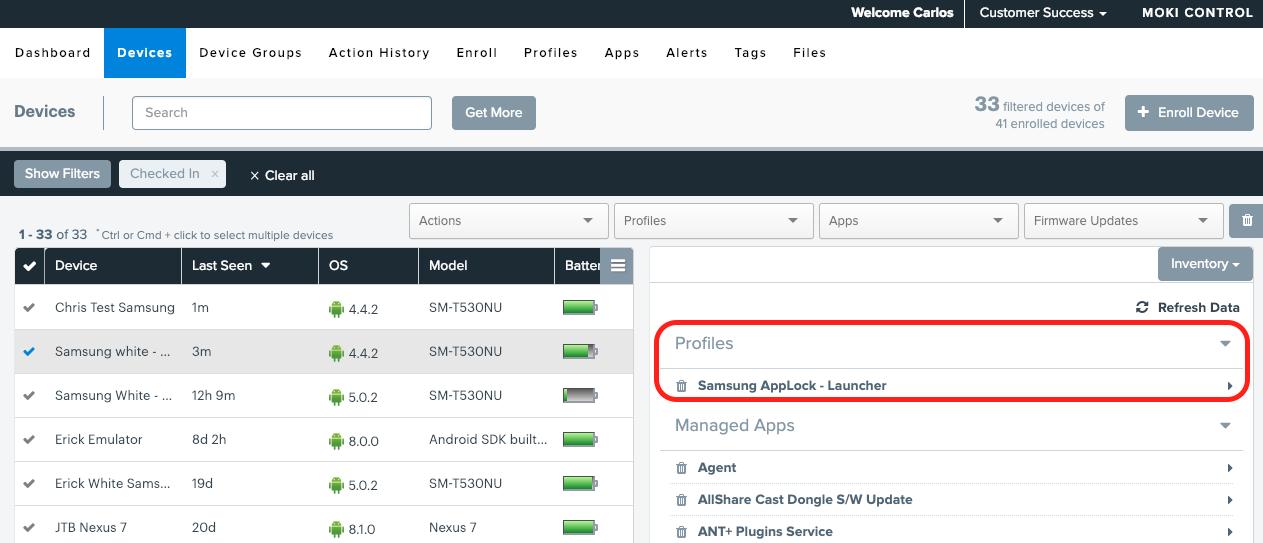 profiles screenshot