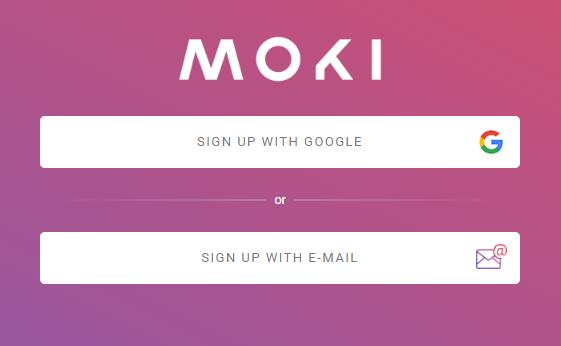 moki sign up screen