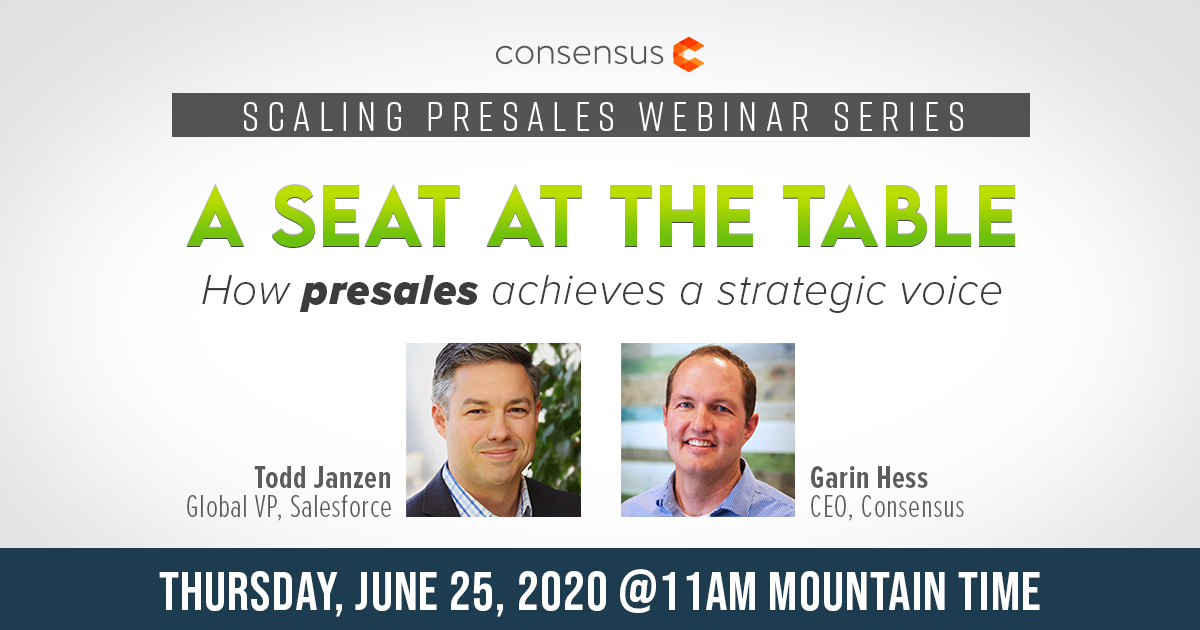 Webinar - A Seat at the Table; How Presales Achieves a Strategic Voice