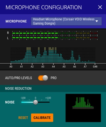 Screenshot of the application with microphone options