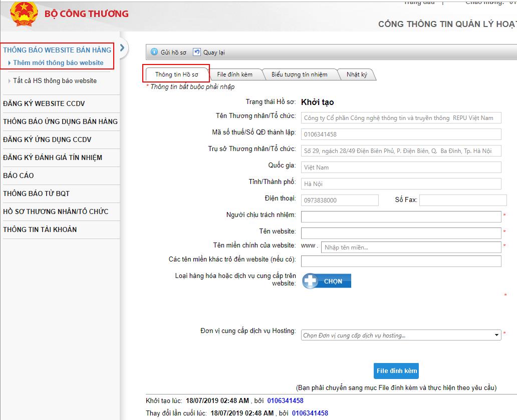 Form thông báo website với Bộ công thương-Hướng dẫn bởi Repu Digital