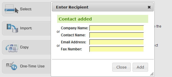 85347d83ea8 You will see a message  Contact Added  and the form will once again be  blank. You may enter in another recipient