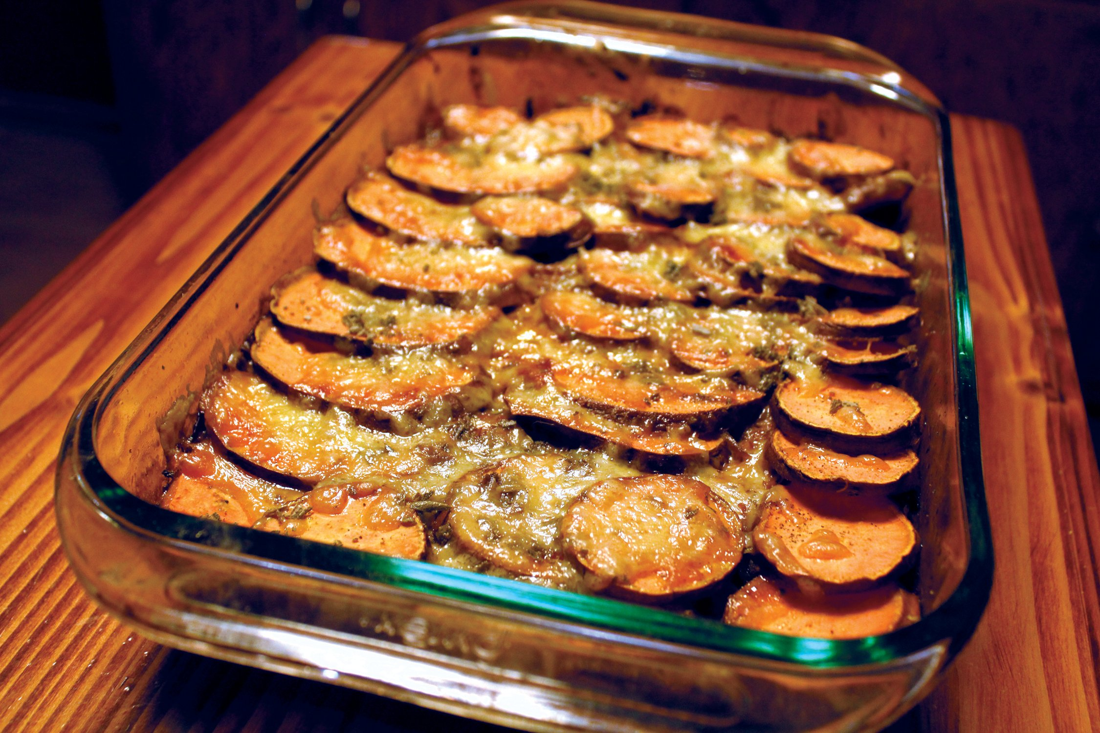 Sweet Potato Gratin with Caramelized Onions & Sage