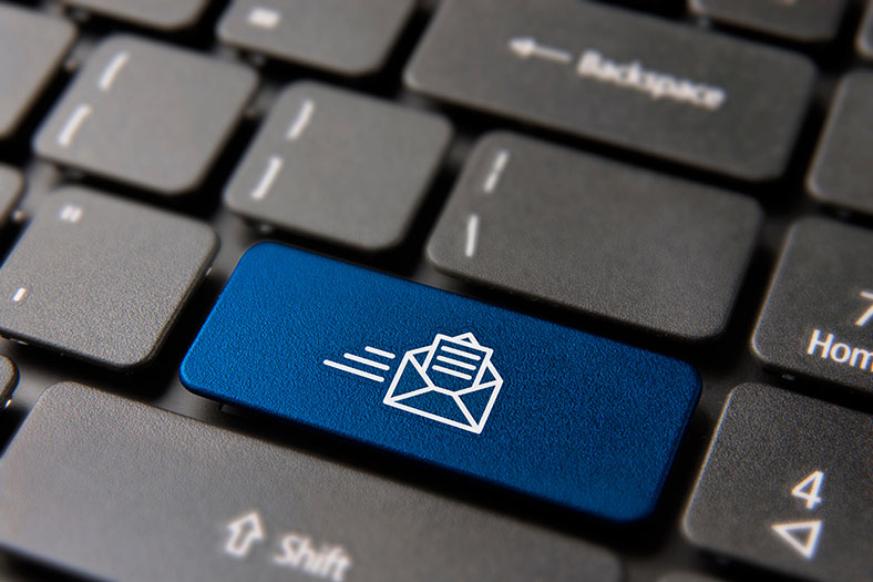 Blue email button on keyboard