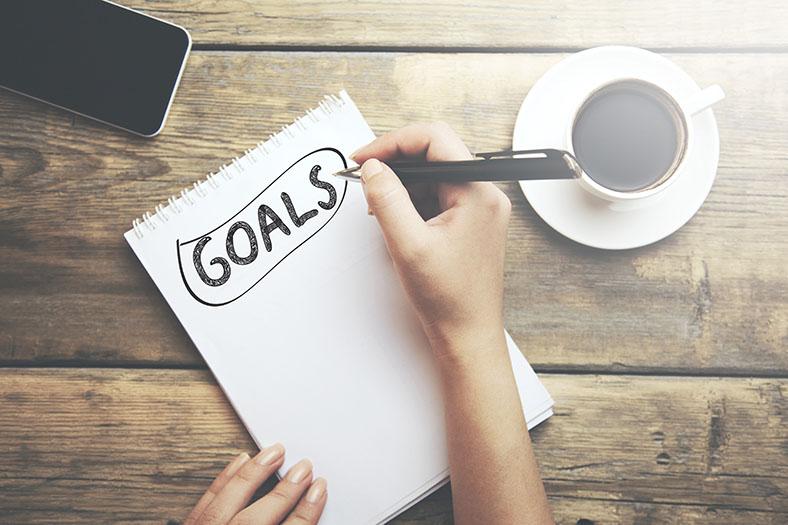Written goals on notepad