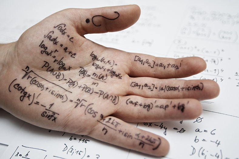 Answers written on hand