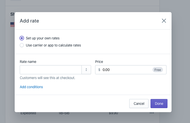 Add rates for the shipping zone