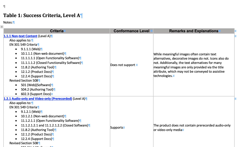 Screenshot of a VPAT document