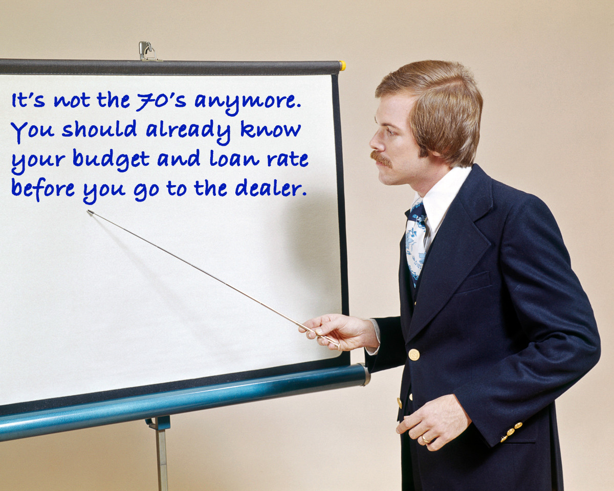 it's not the 70's. you should already know your budget and loan rate before you go to the dealer.