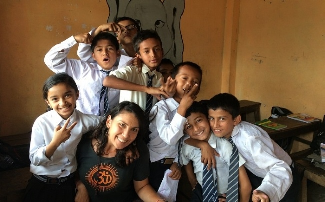 Volunteer teaching in Nepal