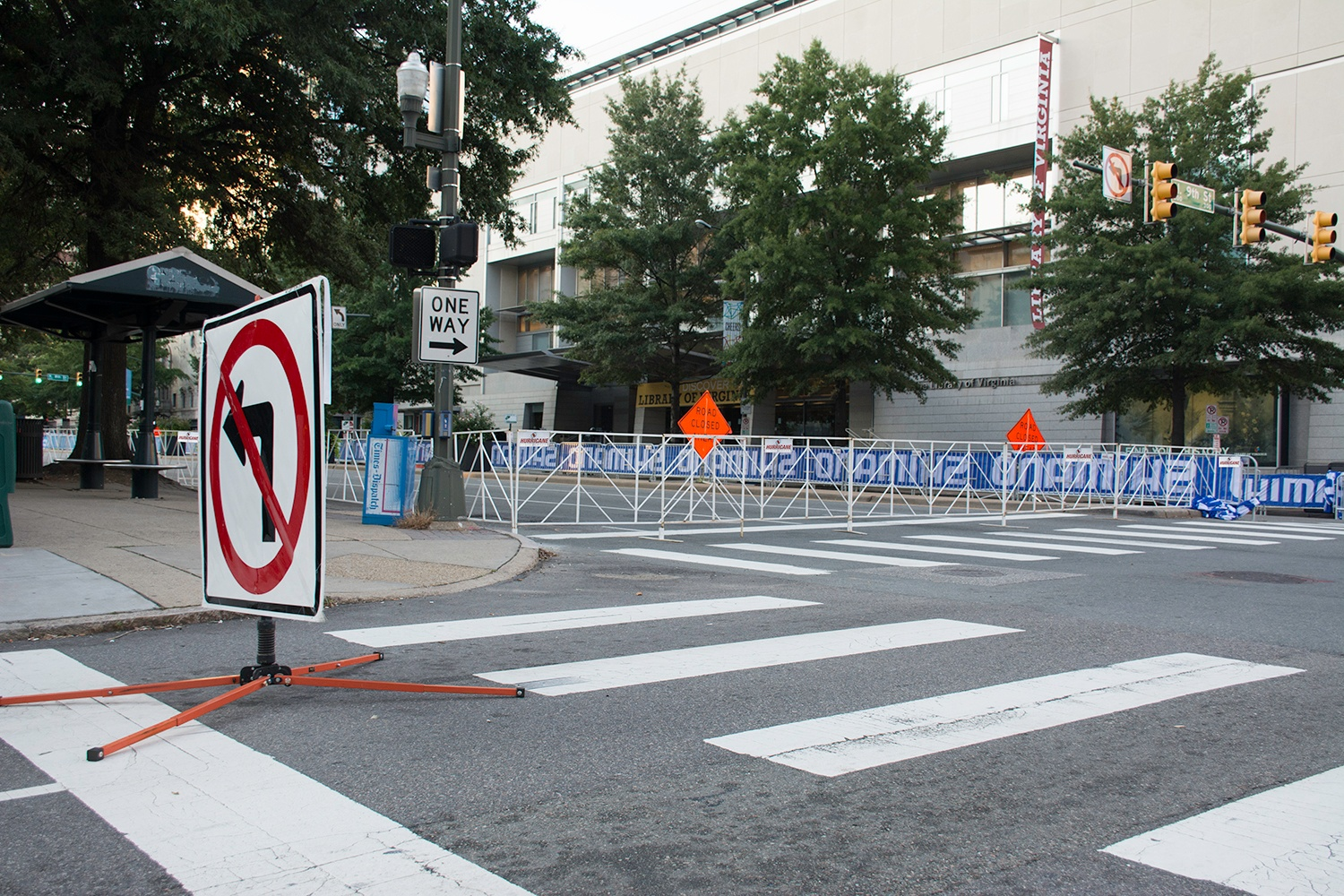 Broat street gets ready foir the big Richmond 2015 bike race with bikeracks and barricades from Hurricane Fence Company in RVA.