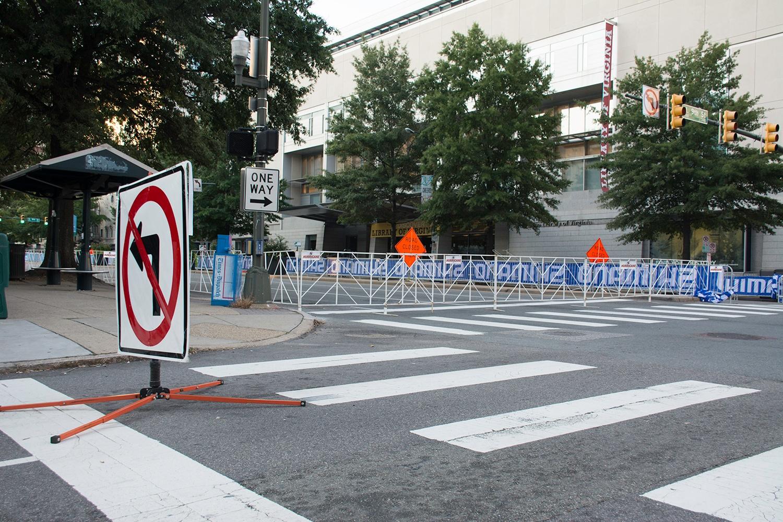 Broat street gets ready foir the big Richmond 2015 bike race with bikeracks and barricades from Hurricane Fence Company in RVA.