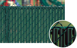 A green variation for Chain Link fence slats and a closeup of injected pvc material protects a city playground.
