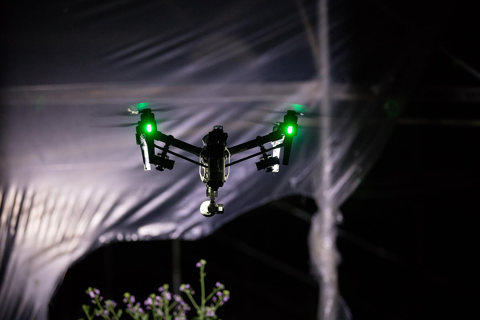 Drone equipped wit 2 FoxFury Rugo R1S to inspect weather damaged building