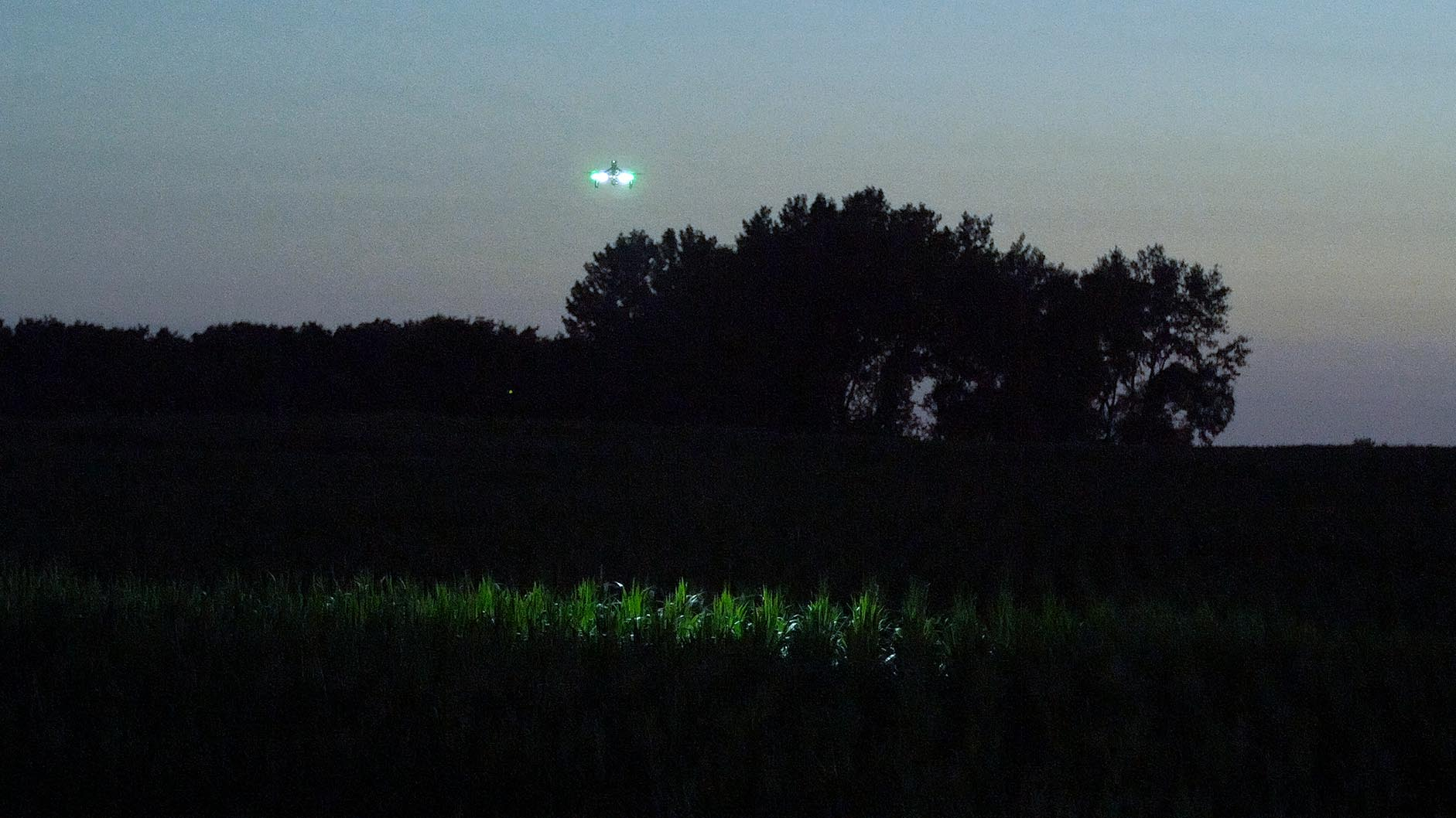 Drone equipped with 2 FoxFury Rugo R1S lights is used to show location of suspect in corn field