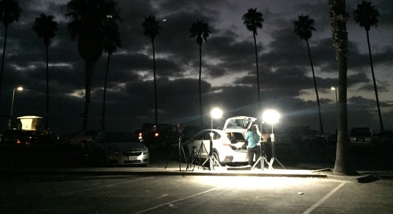 Image of the Nomad Production Lights being used by the video crew during tear down.