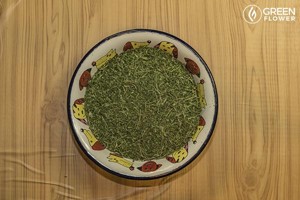 cannabis trim in a bowl