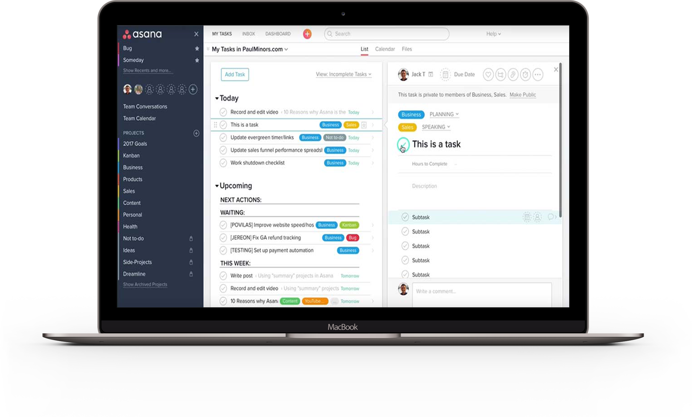 Asana assists in small business project management organization
