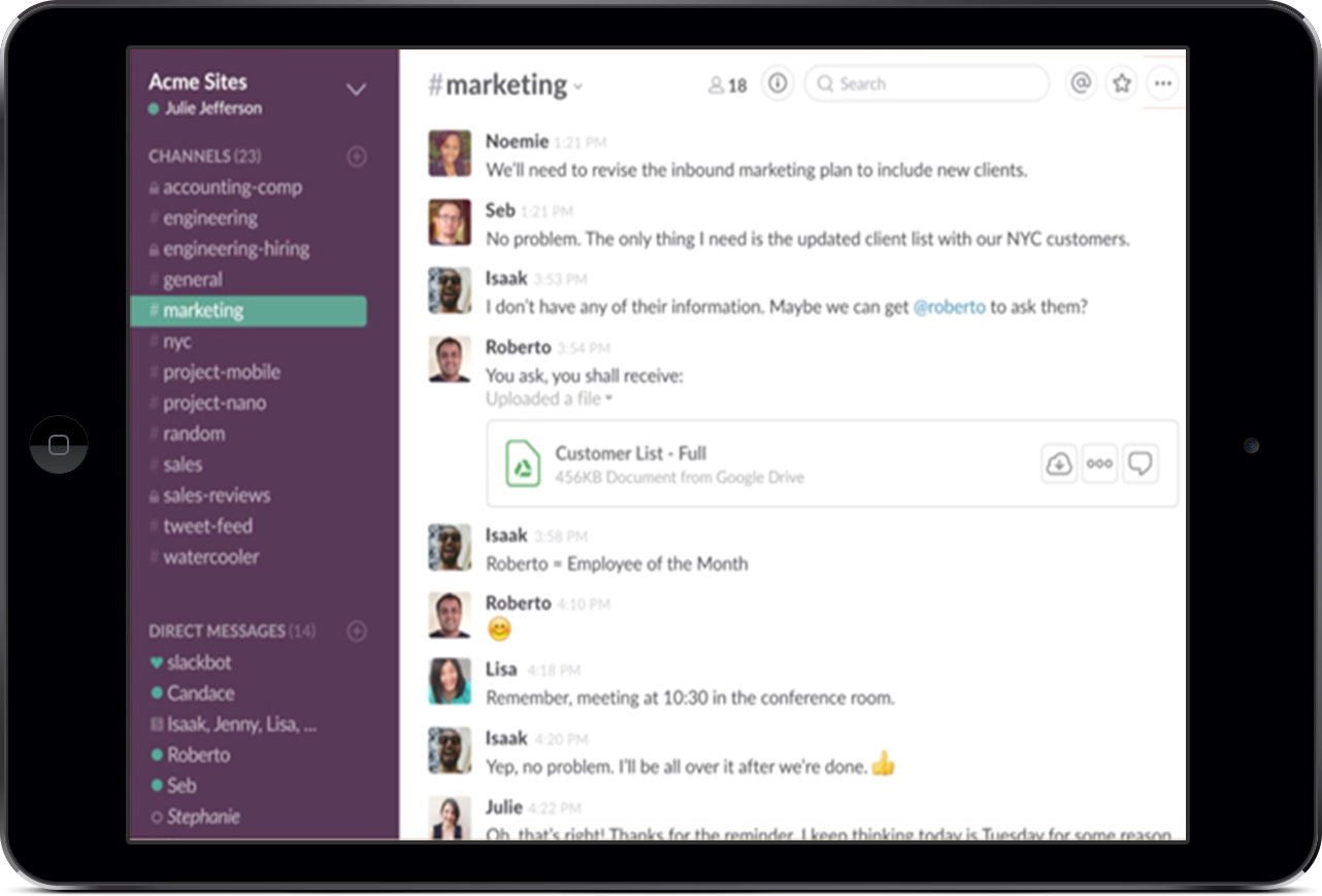 Slack improves small business communication