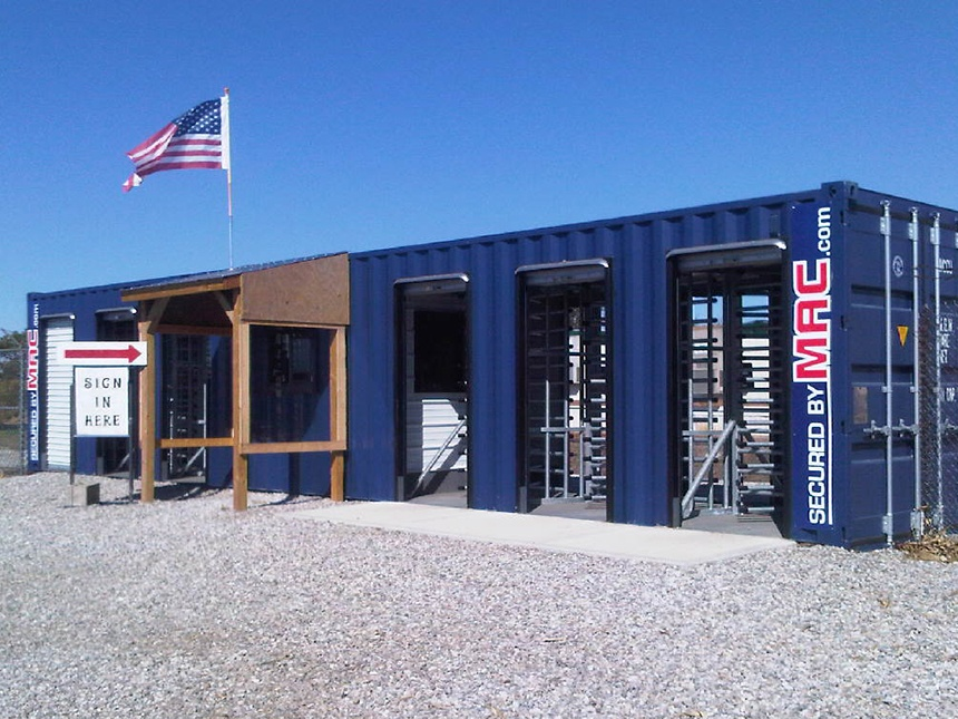 MSSI, Modular Security Systems Inc, Turnstile, Turnstiles, access control, portable perimeter security, portable perimeter security, access control turnstile, guard house with turnstiles, turnstiles in a container, MAC Portal, Patented MAC Portal, Modular Access Control