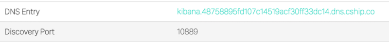 Kibana Automatic DNS entry and Discovery Port