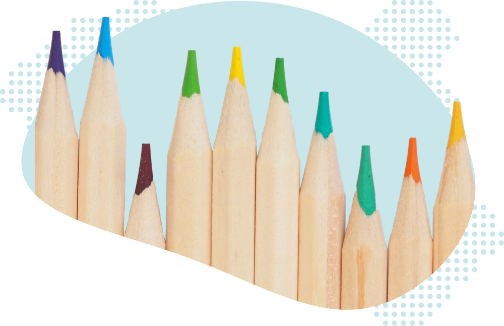 Closeup photo of a series of colored pencil tips