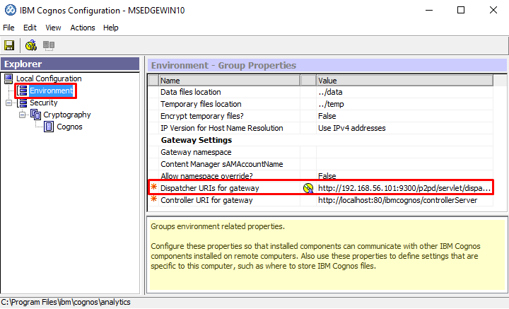 Setting Up a Gateway to Enable SSO for Cognos 11