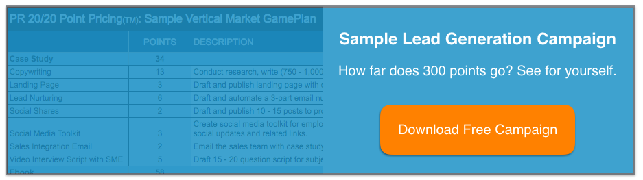 Sample PR 20/20 Point Pricing Campaign