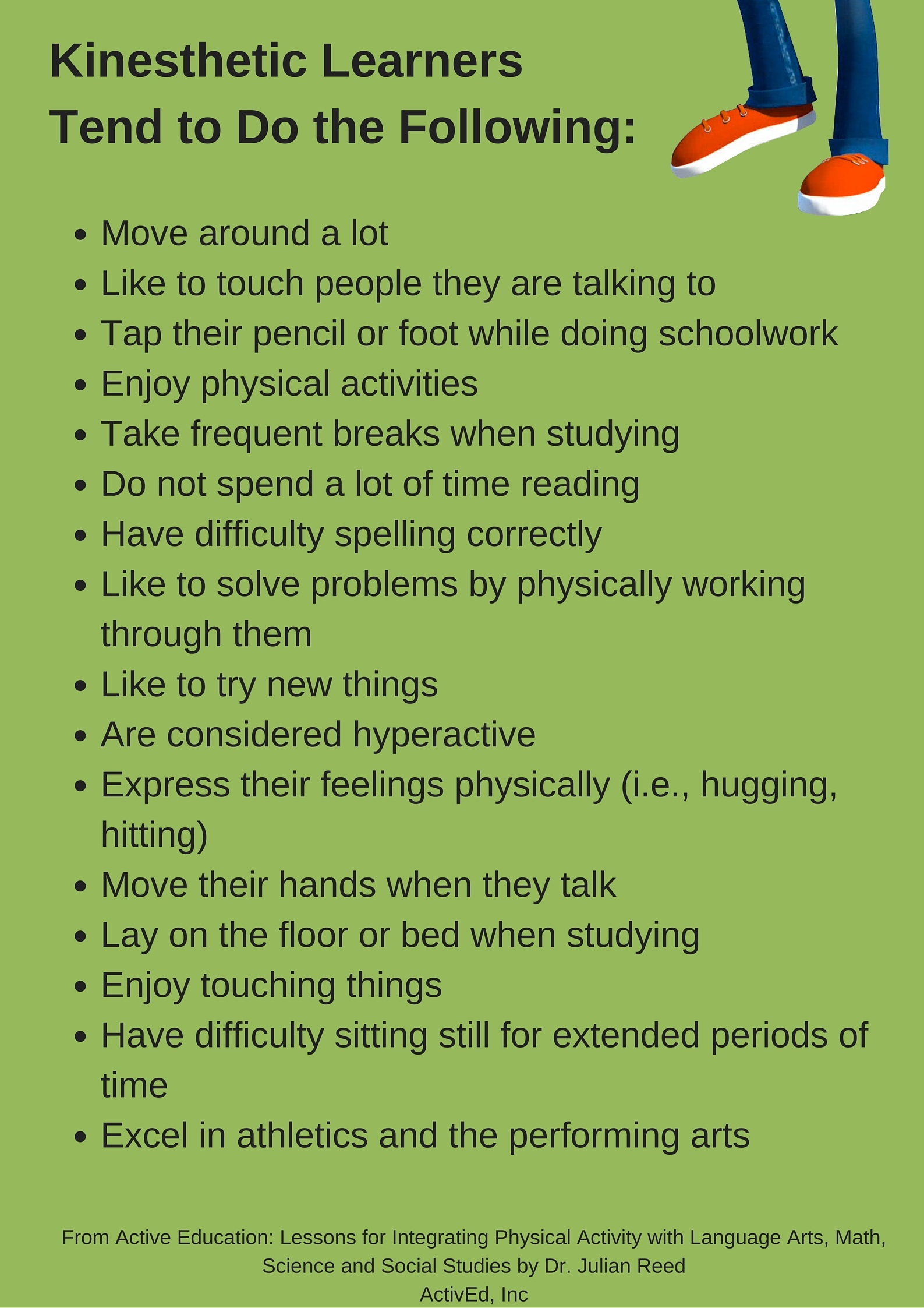 """kinesthetic learning Kinesthetic learners learn best by being hands on and """"learning by  able to  remember things better when they can associate an action with it."""