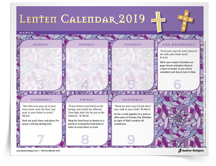 2019 Lenten Calendar Lenten Resources | Sadlier Religion