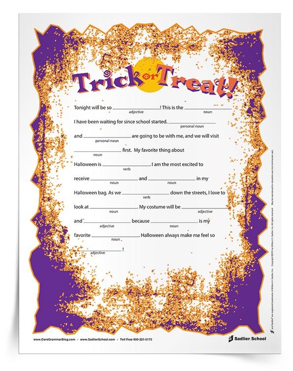 Halloween Grammar Parts of Speech Worksheets for Grades 3 5 – Noun Worksheets Middle School