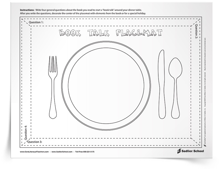 Book Talk Placemat: An Interactive Book Discussion for Kids