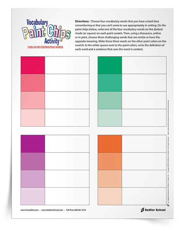 Building Vocabulary Skills with a Paint Chips Printable Worksheet – Vocabulary Builder Worksheets