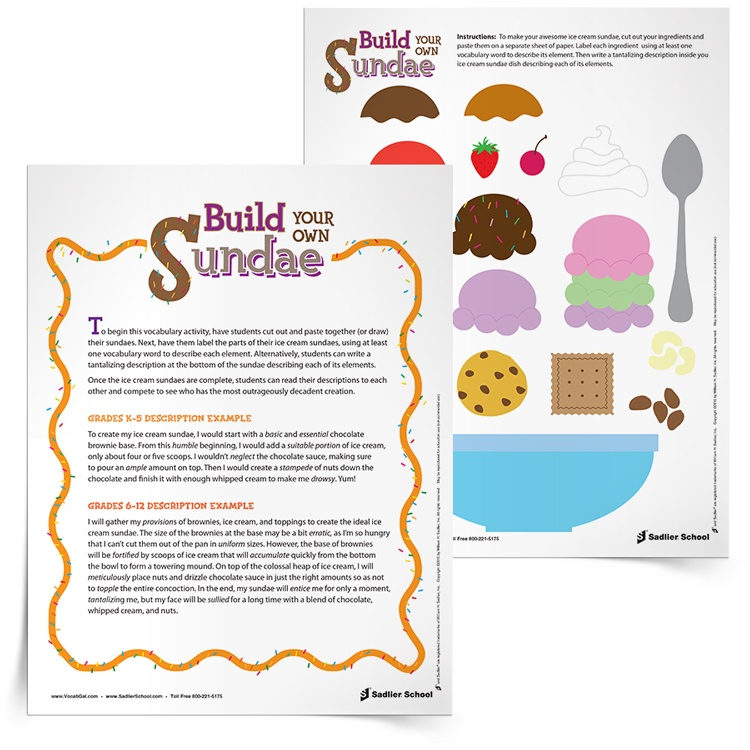 Build Your Own Sundae Vocabulary Activity for K 12 Students – Create Vocabulary Worksheets