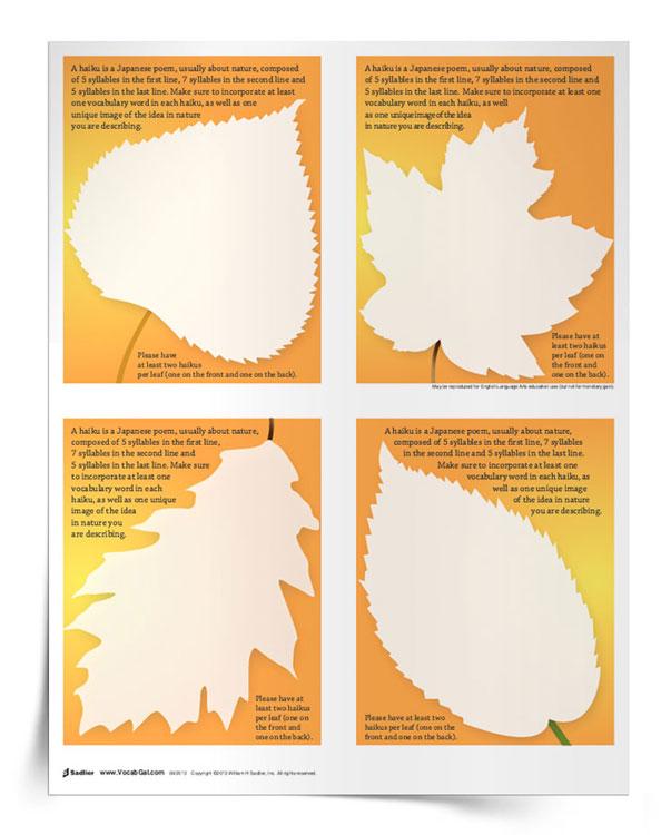 Fall Inspired Haiku Poetry Worksheet
