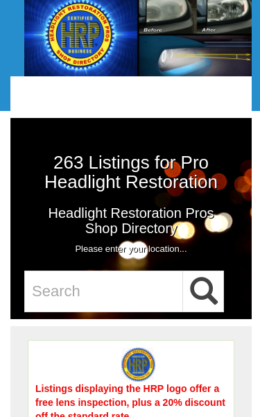 Headlight Restoration Pros Shop Directory