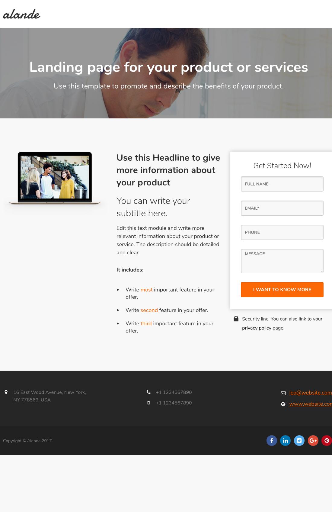 Alande Column Landing Page HubSpot - 3 column email template