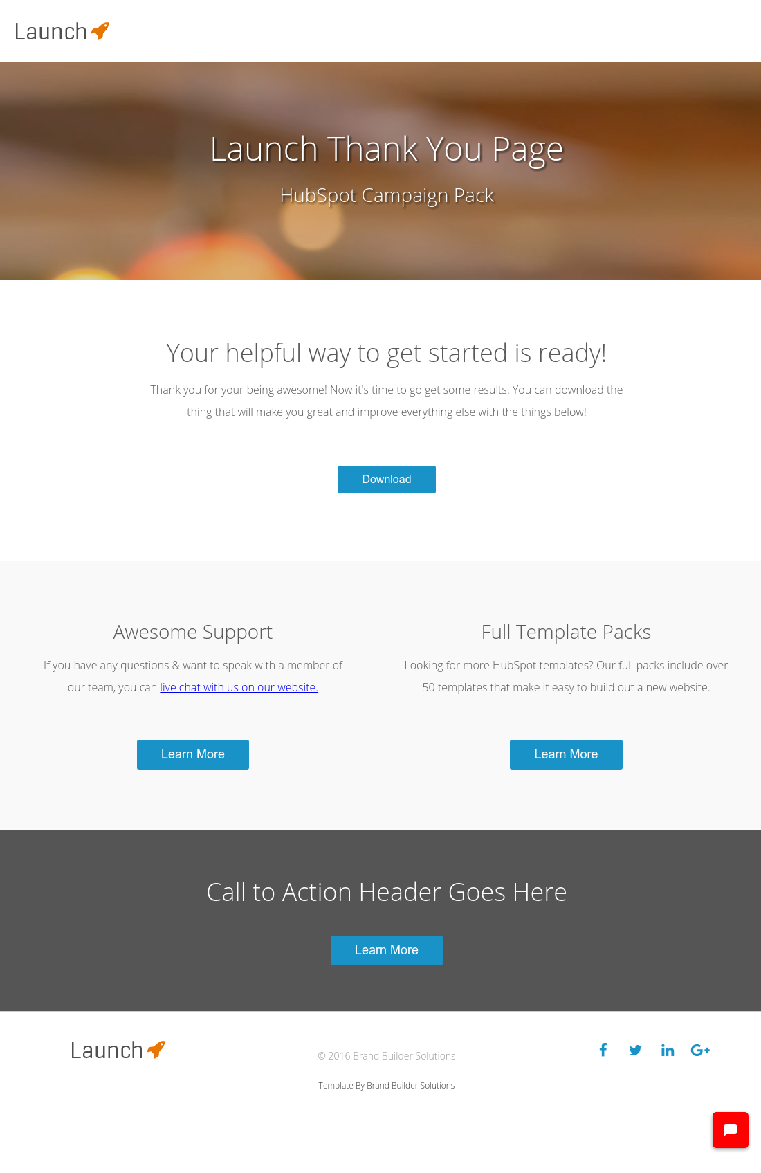 Launch Thank You Page HubSpot - Launch page template