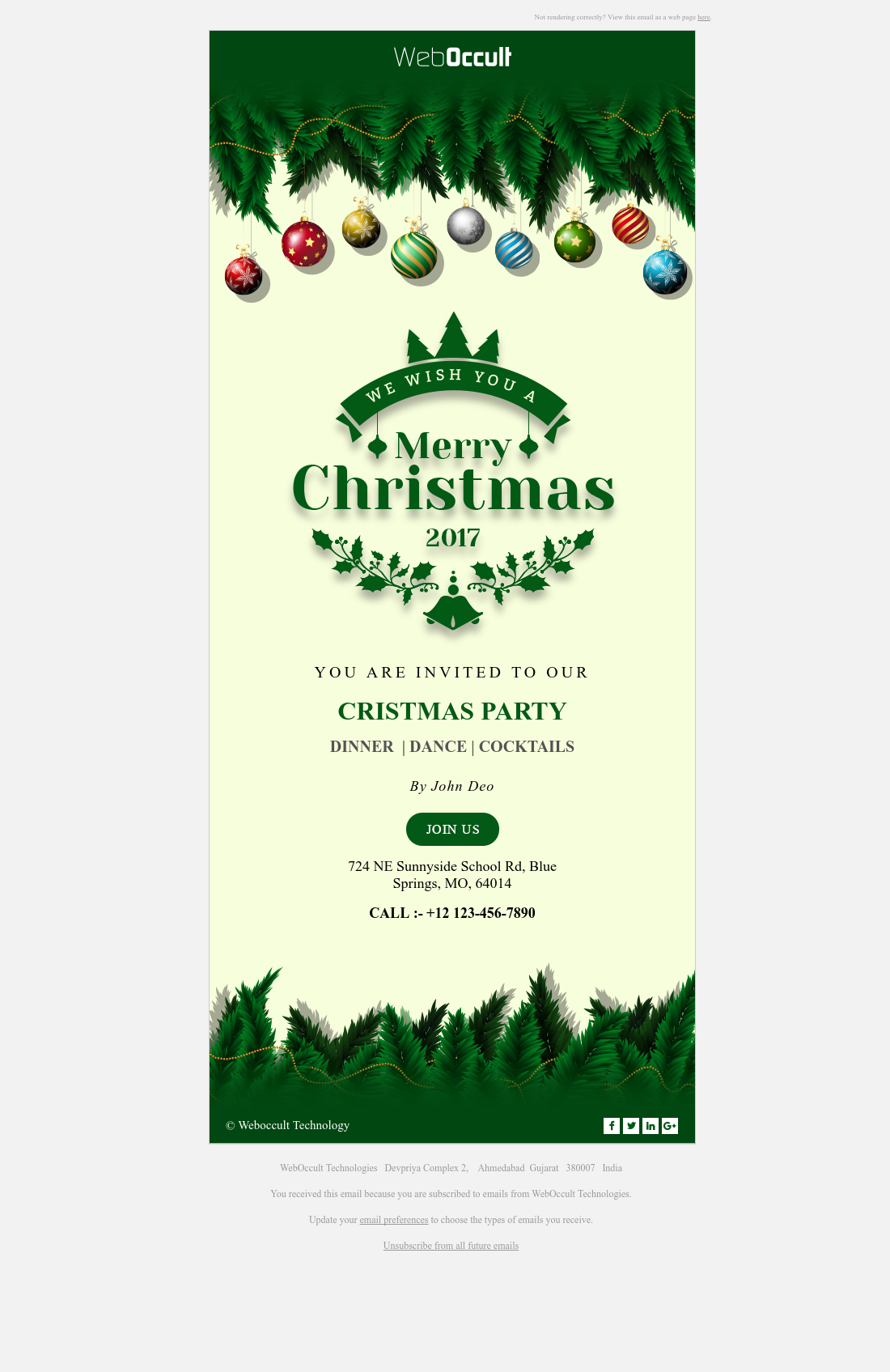 Christmas Party Invitation Email Template | HubSpot