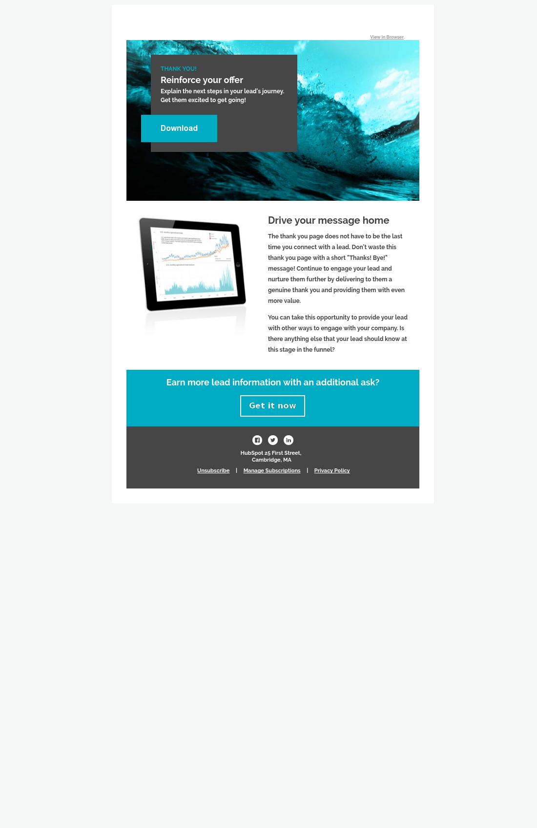 mahalo thank you email hubspot